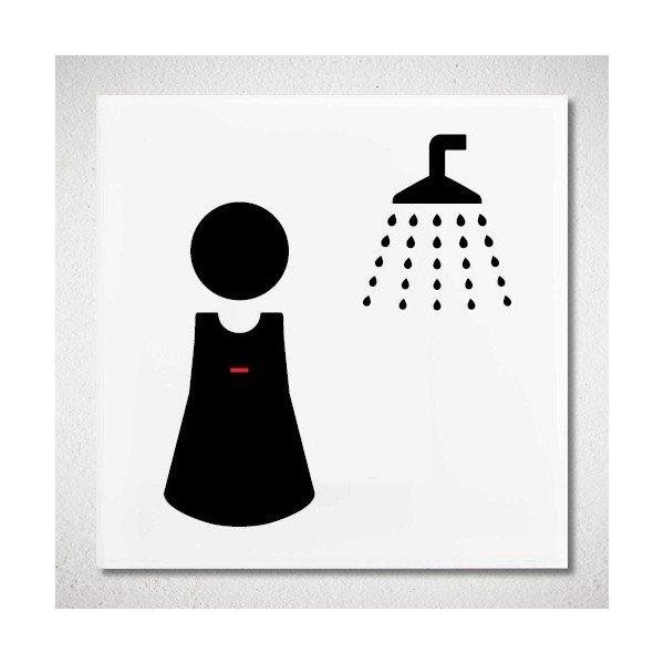 plaque de porte douche femme pictogramme 4mepro. Black Bedroom Furniture Sets. Home Design Ideas