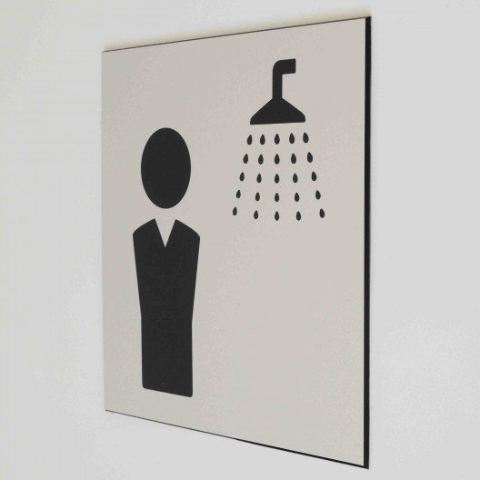 plaque de porte douche homme pictogramme 4mepro. Black Bedroom Furniture Sets. Home Design Ideas