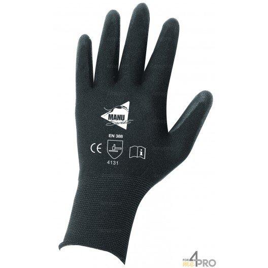 Gants de Précision pour manutention fine - polyuréthane noir sur support nylon noir - norme EN 388 4131