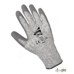Gants anti-coupure enduction polyuréthane gris - support HPPE gris - norme EN 388 4543