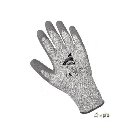 Gants anti-coupure enduction polyuréthane gris - support HPPE gris - norme EN 388 4543
