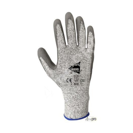 Gants anti-coupure enduction polyuréthane gris sur support HPPE gris - norme EN 388 4343