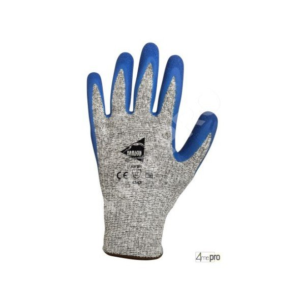 Gants anti coupure enduction latex bleu sur support hppe gris - Gant anti coupure ...