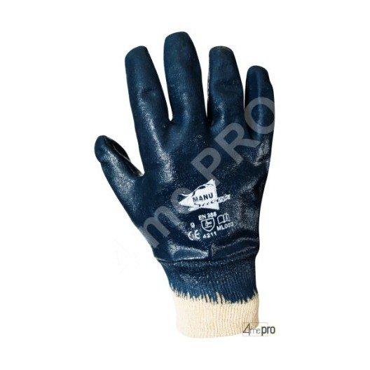 Gants manutention lourde - nitrile lourd imperméable main entière - poignet tricot - norme EN 388 4211