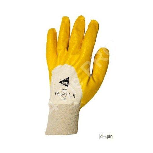 Gants manutention - nitrile jaune sur support interlock - norme EN 388 4121