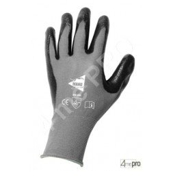 Gants manutention - nitrile gris sur support nylon noir - norme EN 388 3121
