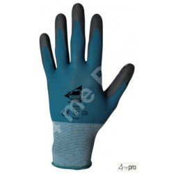 Gants manutention fine - polyuréthane noir sur support nylon bleu - norme EN 388 4131