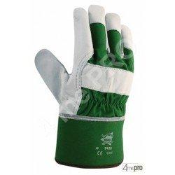 Gants de protection cuir de bovin avec dos coton toile + retour cuir - norme EN 388 3121