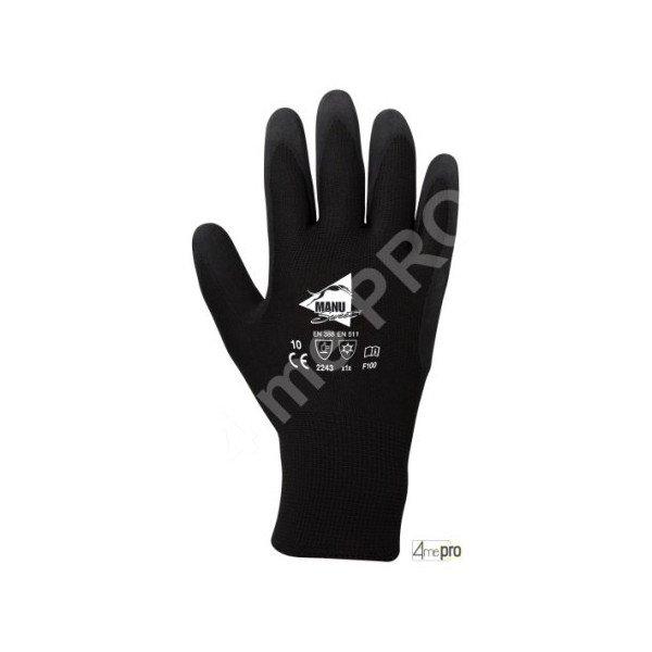 Gants r sistants au froid latex noir sur polyester noir - Gant latex noir ...