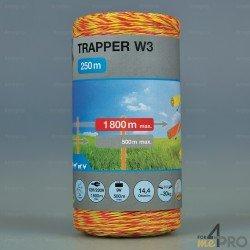 Fil jaune-orange Trapper W3 pour clôtures courtes