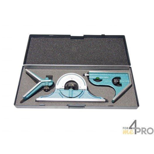 Un coffret comprenant une équerre à combinaison et ses accessoires