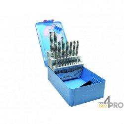 Coffret métallique de 24 forets meulés HSS de 1 à 10 mm par 0,5