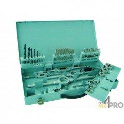Coffret métallique de tarauds main + filières + forets de M3 à M12