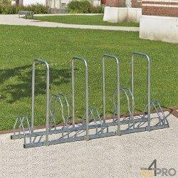 Râtelier au sol 2 niveaux avec 4 arceaux antivol - 5 vélos
