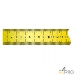 Ruban plat acier laqué jaune revêtement nylon adhésif 5 m x 13 mm