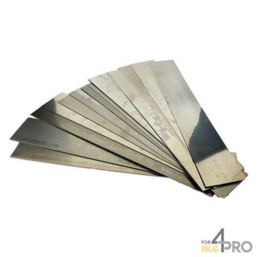 Feuilles clinquants acier 50 x 300 mm de 0,02 à 1,00 mm