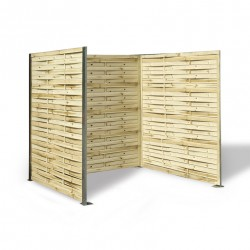 Cache poubelle en panneau de bois tressé 180 x 180 x 180 cm