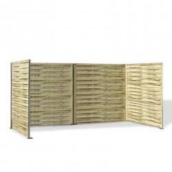 Cache poubelle en panneau de bois tressé 180 x 360 x 180 cm