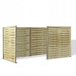 Cache poubelle en panneau de bois tressé 180 x 360 x 180 cm avec retour de 180 cm