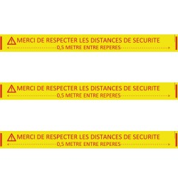 Ruban adhésif de distanciation sociale PVC jaune 5 CM x 66 M