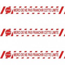 "Ruban adhésif de marquage ""Merci de ne pas franchir la limite"" PVC blanc 5 CM x 66 M"
