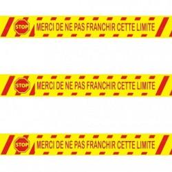 """Ruban adhésif de marquage Spécial sols béton """"Merci de ne pas franchir la limite"""" jaune 5 CM x 33 M"""