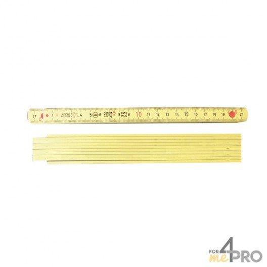 Mètre pliant fibre de verre jaune 10 branches - 2m