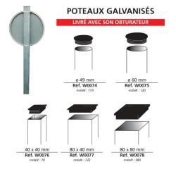 Poteau galvanisé à sceller pour panneau de signalisation