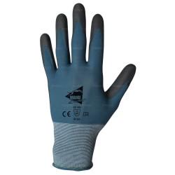 Gants manutention fine - polyuréthane noir sur support nylon bleu - norme EN 388 4131