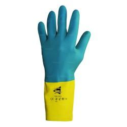 Gants protection chimique 32cm - latex et néoprène flocké coton - normes EN 388 4121 / EN 374