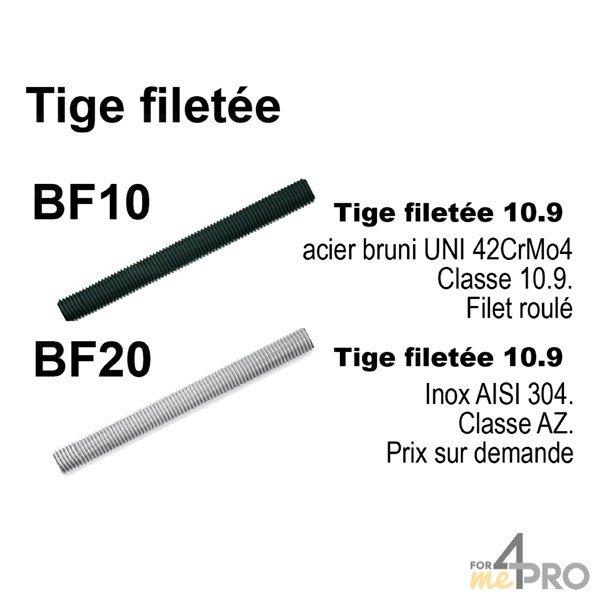 4mepro-tige Filetée 10.9 En Acier Bruni M42