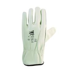Gants BTP cuir de bovin blanc avec élastique de serrage - norme EN 388 3122