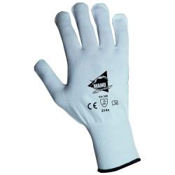 Gants d'Emballage - manutention fine - polyamide blanc avec picots PVC bleus - norme EN 388 314x