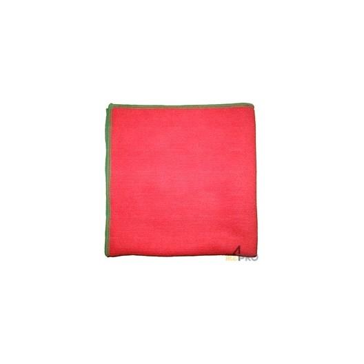 Serviette d'essuyage ANTI-BACT 40 x 40 cm rouge à liseré vert
