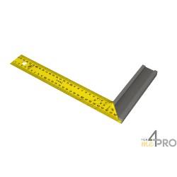 Equerre de menuisier avec lame inox jaune 30x16,5 cm