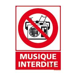 Panneau vertical musique interdite