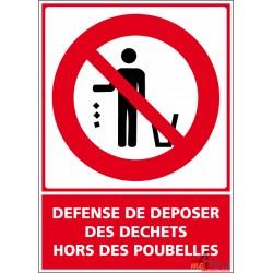 Panneau vertical Défense de déposer des déchets hors des poubelles