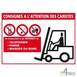 Panneau rectangulaire Consigne de sécurité à l'attention des caristes