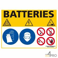 Panneau rectangulaire Consigne de sécurité batteries