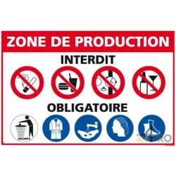 Panneau rectangulaire Consigne de securité zone de production