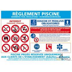 Panneau rectangulaire Réglementation piscine 1