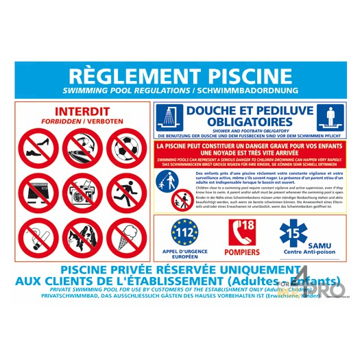 Panneau rectangulaire r glementation piscine 1 4mepro for Piscine demontable reglementation