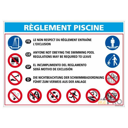 Panneau rectangulaire Réglementation piscine 2