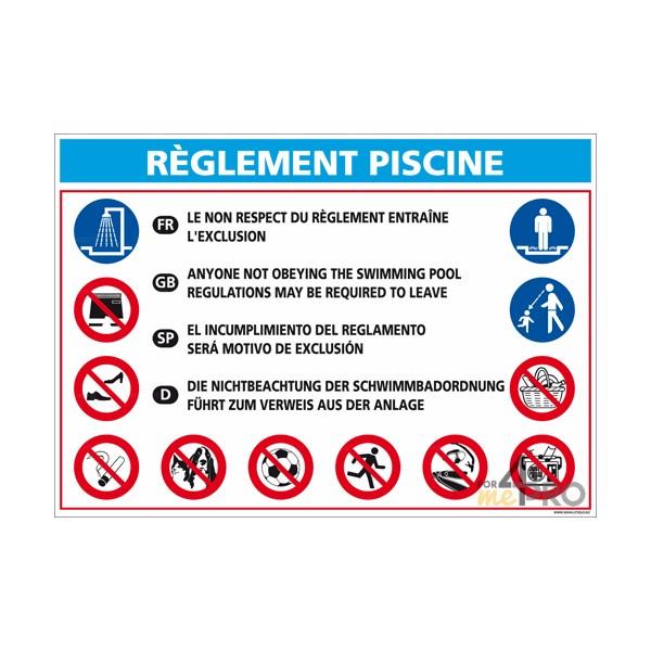 Panneau rectangulaire r glementation piscine 2 4mepro for Panneau piscine