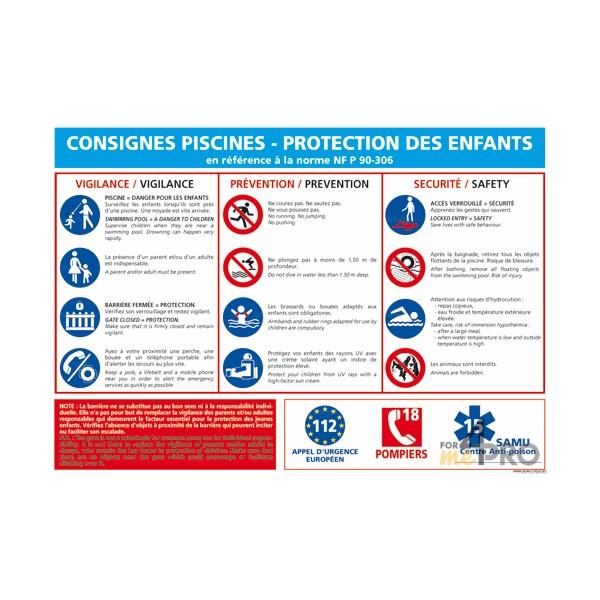 Panneau rectangulaire consigne piscine et protection des for Protection enfant piscine
