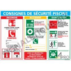 Panneau rectangulaire Consigne sécurité piscine