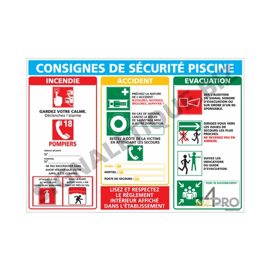 Panneau rectangulaire consigne s curit piscine 4mepro for Securite piscine