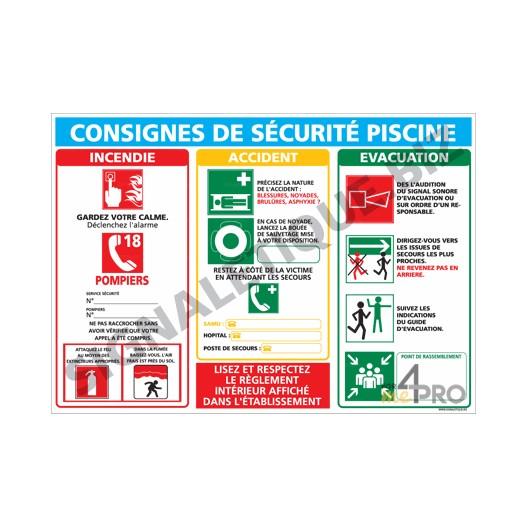 Panneau rectangulaire consigne s curit piscine 4mepro for Reglementation securite piscine