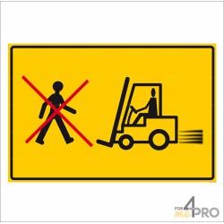 Panneau rectangulaire Circulation de chariots élévateur, interdit aux piétons