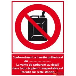 Panneau rectangulaire Vente au détail essence interdite